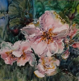 A Watercolour artwork by Joan Denner depicting Flowers with main colour being Pink and titled Pink
