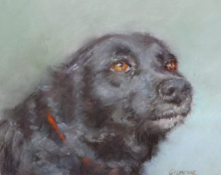 A Pastel artwork by Joan Denner in the Realist style  depicting Animals Dogs with main colour being Black Blue and Brown and titled Bessie