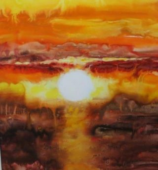 A  painting by Joan Denner depicting  Sunset and titled Sunset