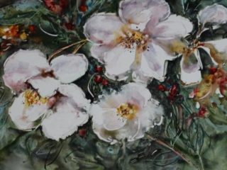 A  painting by Joan Denner depicting Flowers with main colour being Green and Pink and titled Pink Flowers