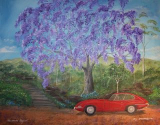 An Acrylic painting by Rex Woodmore in the Contemporary Realist style  depicting Landscape Bush Flowers and Rocks with main colour being Blue Green and Ochre and titled Jacaranda Jaguar