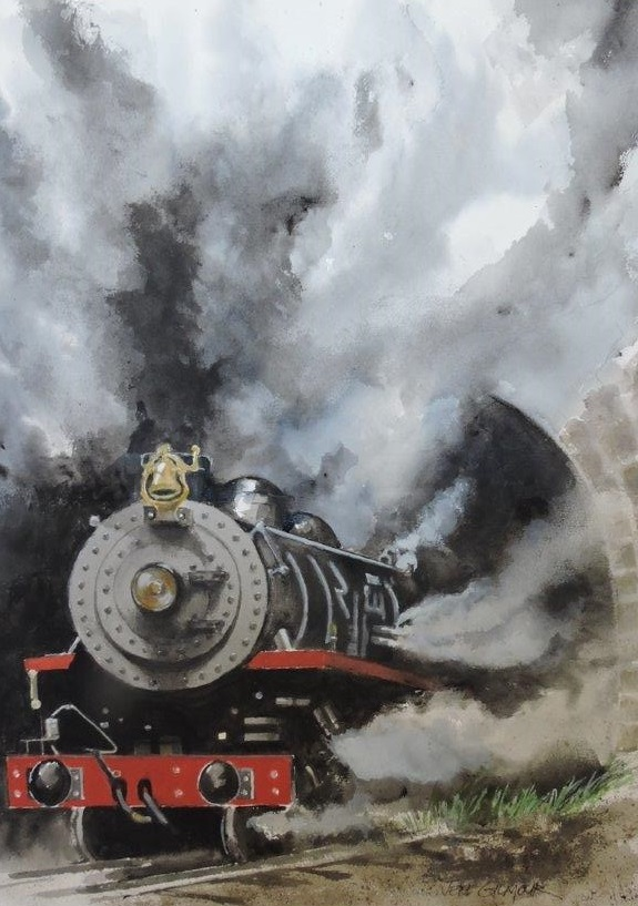 Watercolour Painting by Jeff Gilmour titled Steam Train