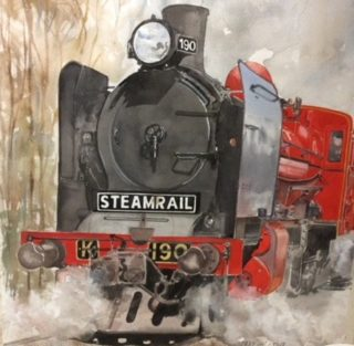 A Watercolour artwork by Jeff Gilmour in the Realist style  depicting  Trains with main colour being Grey and Red and titled Steam Rail 190 Train