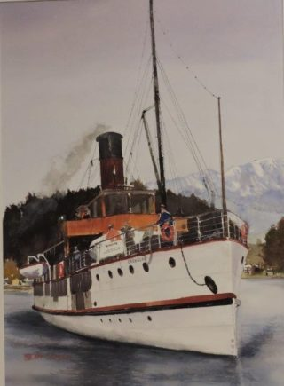 A Watercolour artwork by Jeff Gilmour in the Realist style  depicting Boats with main colour being Brown Grey and Red and titled Earnslaw NZ