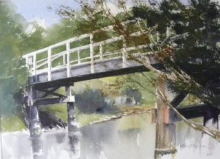 A Watercolour artwork by Jeff Gilmour depicting Bridge and titled Bridge over Kananook Creek, Frankston