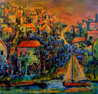 An Oil painting by Jeremy Holton in the Impressionist style  depicting Landscape Boats Buildings and City with main colour being Blue Gold and Green and titled Not forgotten