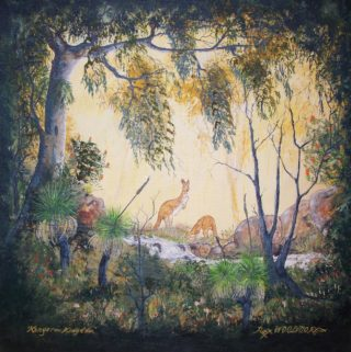 An Acrylic painting by Rex Woodmore in the Contemporary Realist style  depicting Animals Bush and Creek with main colour being Black Brown and Green and titled Kangaroo Kingdom