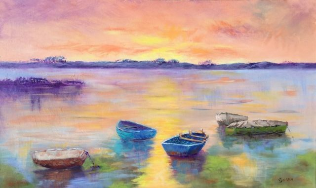 Painting by Lyn Ellis titled Sunset on Swan Bay