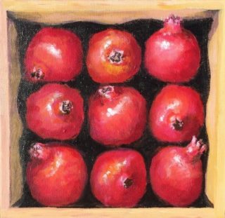 An Acrylic painting by Lyn Ellis in the Realist Impressionist style  depicting Fruit with main colour being Black Ochre and Red and titled Box of Pomegranates
