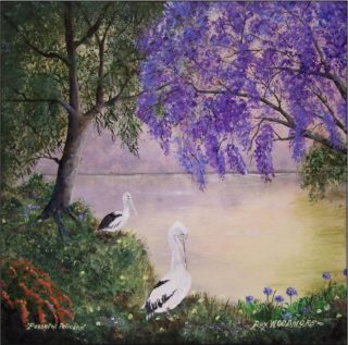 An Acrylic painting by Rex Woodmore in the Contemporary style  depicting Landscape Birds Bush and Creek with main colour being Green and Purple and titled Peaceful Pelicans. 