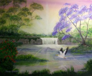 An Acrylic painting by Rex Woodmore in the Contemporary Realist style  depicting River Birds Bush and Creek with main colour being Gold Green and Olive and titled Really Restful