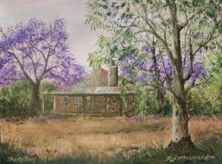 An Acrylic painting by Rex Woodmore in the Contemporary Realist style  depicting Landscape Buildings Bush and Garden with main colour being Brown Green and Purple and titled Rusty Ruin