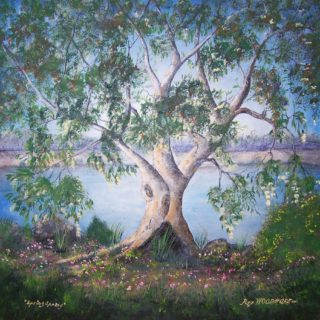 An Acrylic painting by Rex Woodmore in the Contemporary Realist style  depicting Landscape Bush Flowers and Lake with main colour being Blue Brown and Green and titled Spring Sprang