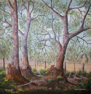 An Acrylic painting by Rex Woodmore in the Contemporary Realist style  depicting Landscape Bush Farmland and Flowers with main colour being Blue Brown and Cream and titled Three Trees