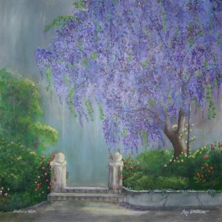 An Acrylic painting by Rex Woodmore in the Contemporary Realist style  depicting  Buildings Flowers and Garden with main colour being Blue Green and Grey and titled Wisteria Walk