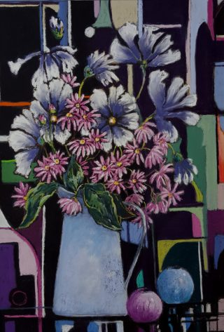 A Pastel artwork by Helen Miles in the Contemporary Realist style  depicting Flowers with main colour being Black Blue and Pink and titled Command Performance