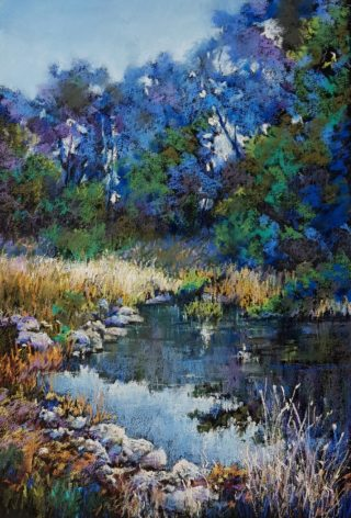 A Pastel artwork by Helen Miles in the Realist Impressionist style  depicting Landscape Garden and Water with main colour being Green and Ochre and titled Kilmore Creek