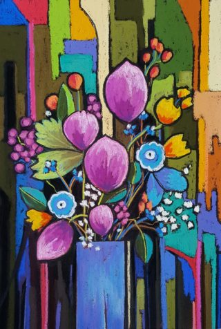 A Pastel artwork by Helen Miles in the Contemporary style  depicting Flowers with main colour being Blue Green and Pink and titled Pish Posh