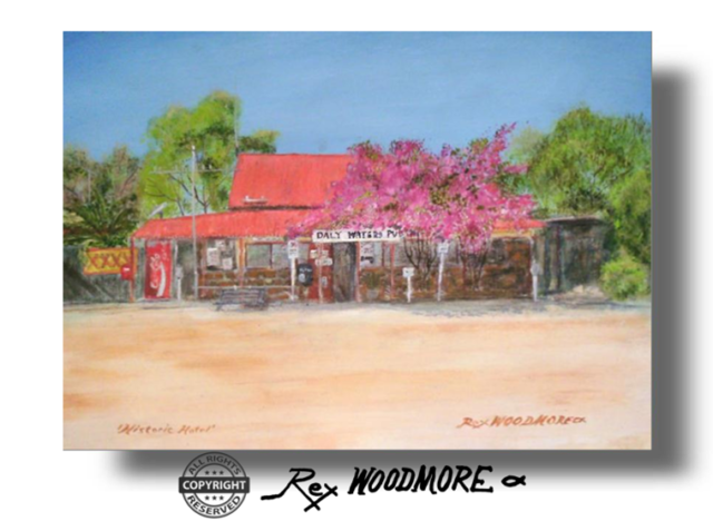 Acrylic Painting by Rex Woodmore titled Historic Hotel