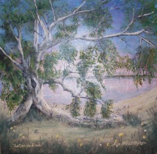 An Acrylic painting by Rex Woodmore in the Contemporary style  depicting  Bush Lake and Outback with main colour being Green Grey and Pink and titled Lakeside Limbs