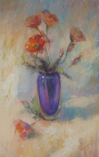 A Pastel painting by Penelope Gilbert-Ng in the Impressionist style  depicting Flowers with main colour being Blue Orange and Purple and titled Poppies