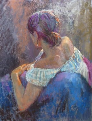 A Pastel painting by Penelope Gilbert-Ng in the Realist Impressionist style  depicting Woman with main colour being Blue Brown and Cream and titled Carmen