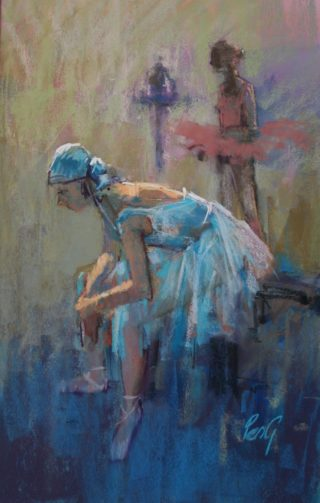A Pastel painting by Penelope Gilbert-Ng in the Impressionist style  depicting Woman with main colour being Blue and titled The Rest