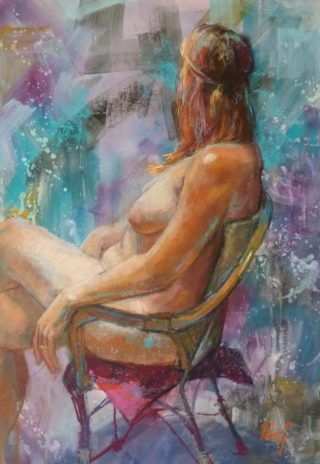 A Pastel painting by Penelope Gilbert-Ng in the Impressionist style  depicting Woman Nude with main colour being Blue Brown and Cream and titled Jean