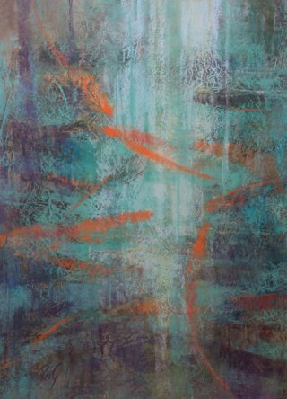 A Pastel painting by Penelope Gilbert-Ng in the Abstract style  with main colour being Blue Green and Orange and titled Haven