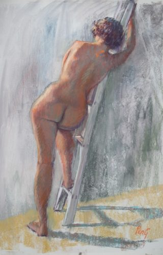 A Pastel painting by Penelope Gilbert-Ng in the Realist Impressionist style  depicting Woman Nude and titled Maeve