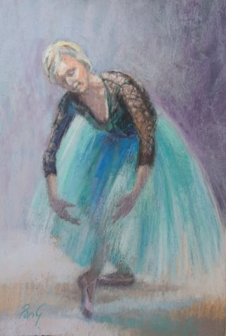 A Pastel painting by Penelope Gilbert-Ng in the Realist Impressionist style  depicting Woman with main colour being Blue Grey and Purple and titled The Pose