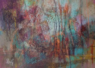 A Pastel painting by Penelope Gilbert-Ng in the Abstract style  depicting Landscape Bush and titled Bush Walk