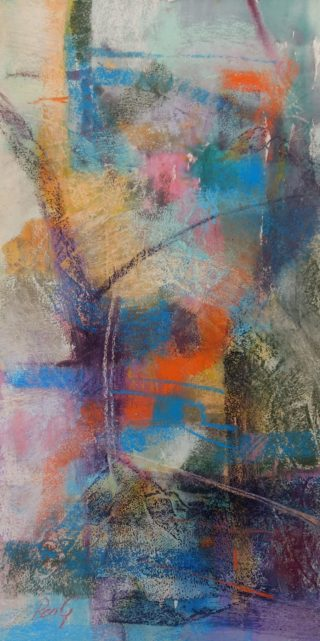 A Pastel painting by Penelope Gilbert-Ng in the Abstract style  with main colour being Blue Orange and Pink and titled Self Portrait