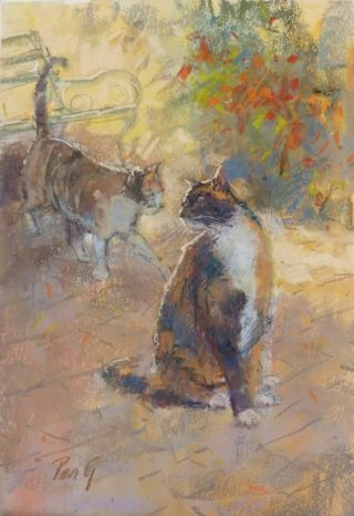 A Pastel painting by Penelope Gilbert-Ng in the Impressionist style  depicting Animals and Cats with main colour being Brown and Ochre and titled Stalking