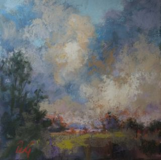 A Pastel painting by Penelope Gilbert-Ng in the Impressionist style  Trees with main colour being Blue and Brown and titled Clouds