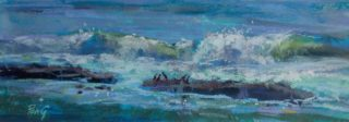 A Pastel painting by Penelope Gilbert-Ng in the Impressionist style  depicting Seascape Waves with main colour being Blue and titled Cormorant Dare