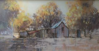 A Pastel artwork by Penelope Gilbert-Ng in the Impressionist style  depicting Landscape Bush and Outback with main colour being Brown Grey and Ochre and titled Miners Cottage