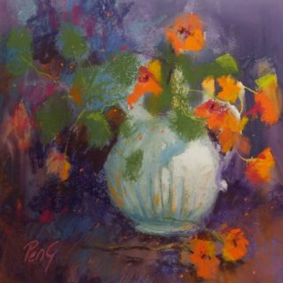 A Pastel painting by Penelope Gilbert-Ng in the Impressionist style  depicting Flowers and Vases with main colour being Cream Orange and Purple and titled Nasturtiums