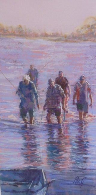 A Pastel artwork by Penelope Gilbert-Ng in the Impressionist style  depicting Seascape People River and Water with main colour being Purple and titled The Bait Hunters