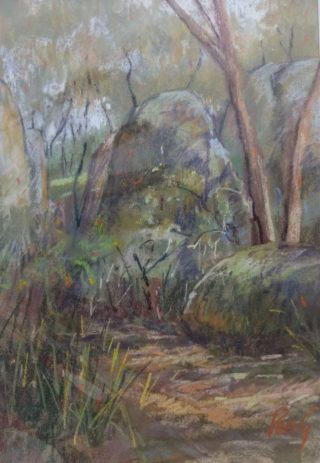 A Pastel painting by Penelope Gilbert-Ng in the Impressionist style  depicting Landscape Bush and Trees with main colour being Ochre and Olive and titled Stanthorpe Rocks