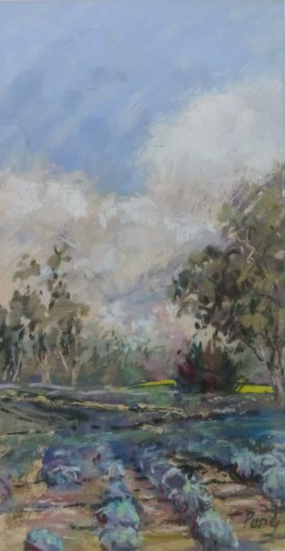 A Pastel painting by Penelope Gilbert-Ng in the Impressionist style  depicting Landscape Garden Rural and Trees with main colour being Blue and Olive and titled Lavender Fields