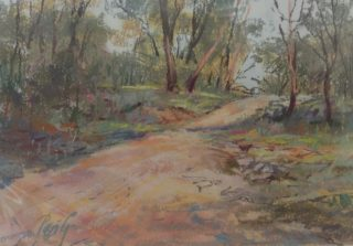 A Pastel artwork by Penelope Gilbert-Ng in the Impressionist style  depicting Landscape Bush with main colour being Ochre and Olive and titled Up the Path