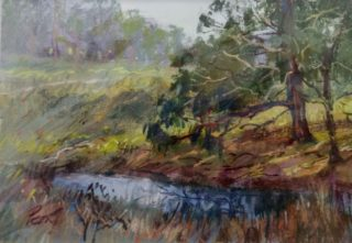 A Pastel painting by Penelope Gilbert-Ng in the Impressionist style  depicting Landscape Bush Swamp and Trees with main colour being Blue Ochre and Olive and titled Farm Creek