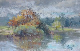 A Pastel artwork by Penelope Gilbert-Ng in the Impressionist style  depicting Landscape Bush River and Swamp with main colour being Blue Ochre and Olive and titled Quartpot Creek