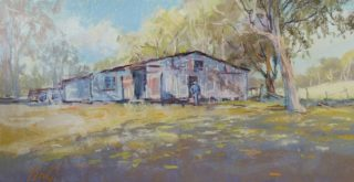 A Pastel painting by Penelope Gilbert-Ng in the Impressionist style  depicting Landscape Bush Outback and Sheds with main colour being Blue Grey and Ochre and titled The Shed