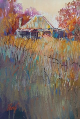 A Pastel painting by Penelope Gilbert-Ng in the Impressionist style  depicting Landscape Farmland and Rural with main colour being Blue Orange and Yellow and titled Old House