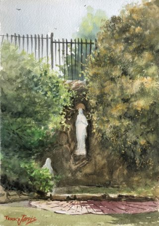 A Watercolour artwork by Terry Jarvis in the Realist Impressionist style  depicting Landscape Garden and Statue with main colour being Green and titled Statue in the Garden