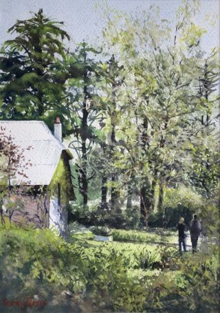 A Watercolour artwork by Terry Jarvis in the Realist Impressionist style  depicting Landscape Garden and Trees with main colour being Green and titled The Cedars, Hahndorf South Australia