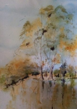 A Watercolour painting by Margaret Morgan Watkins depicting River Trees and Water with main colour being Blue Brown and Yellow and titled A Sunny day on the Murray at Tocumwal NSW