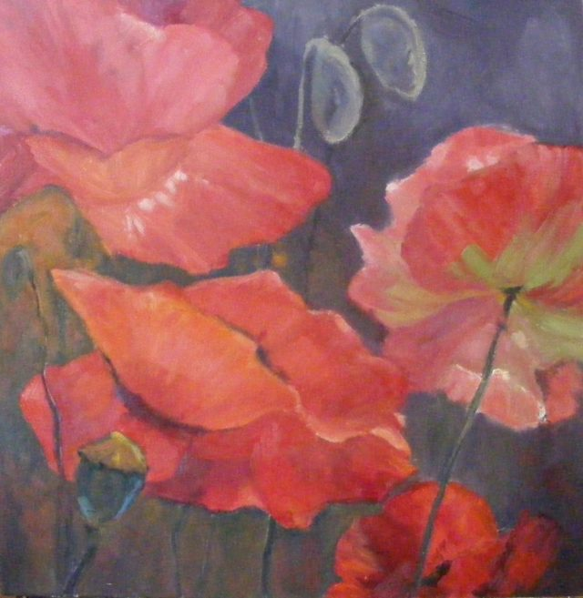 Oil Painting by Trish Bennett titled Warms The Heart Poppies